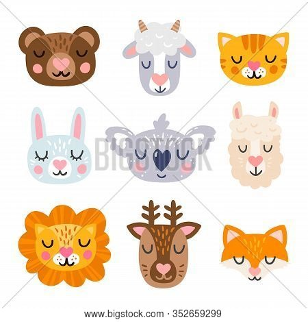 Cute Animal Face Heads Icon Set With Hearts On The Nose. Bear, Koala, Cat, Rabbit, Lama, Fox, Lion,