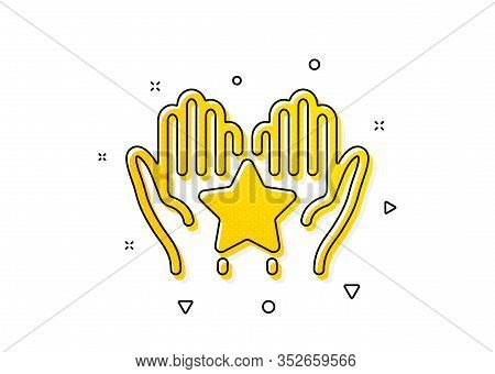 Holding Star Sign. Ranking Icon. Best Rank Symbol. Yellow Circles Pattern. Classic Ranking Icon. Geo