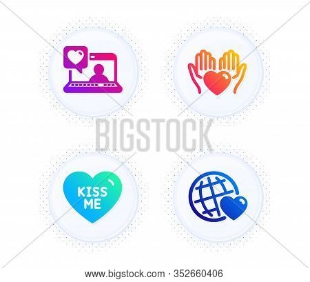 Kiss Me, Hold Heart And Friends Chat Icons Simple Set. Button With Halftone Dots. Friends World Sign