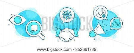 Loan Percent, Versatile And Talk Bubble Line Icons Set. Handshake Deal, Research And Promotion Compl