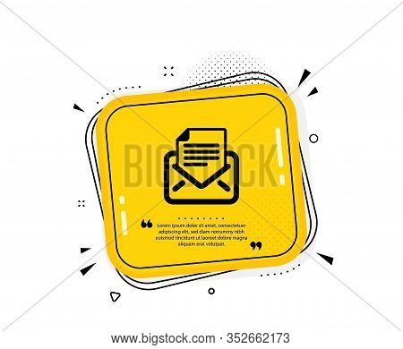 Mail Correspondence Icon. Quote Speech Bubble. Read Message Sign. E-mail Symbol. Quotation Marks. Cl