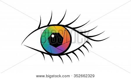 Aperture In The Eye, Diaphragm Icon - Vector Illustration.
