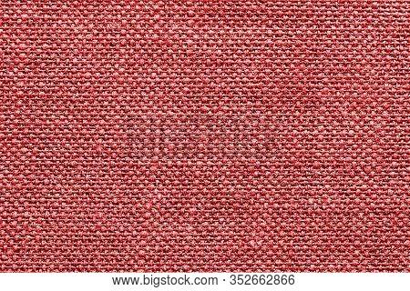 Red Checkered Fabric Texture. Textile Pattern Background. Coach Furniture Closeup Materia. Macro Fib