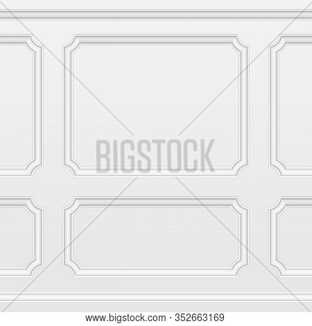 White Wall With Moulding Frames Seamless Background. Moulding Panels Classic Home Decoration. Living