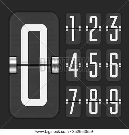 Countdown Numbers Flip Counter Isolated On Dark Background. Black Mechanical Scoreboard Vector Templ