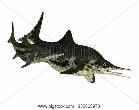 Stenopterygius Mother And Calf 3d Illustration - Stenopterygius Was An Marine Reptile That Swam In T