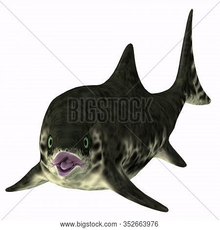 Stenopterygius Ichthyosaur Over White 3d Illustration - Stenopterygius Was An Marine Reptile That Sw