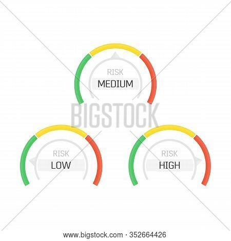 Risk Gauge Scale Measure. High Risk Meter Isolated On White Background. Concept Graphic Element Of T