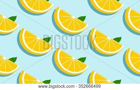 Seamless Blue Background With Grapefruit Slices And Leaves With Shadow. Vector Fruit Design For Patt
