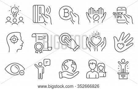 Set Of People Icons, Such As Education, Winner Podium. Diploma, Ideas, Save Planet. Touchscreen Gest