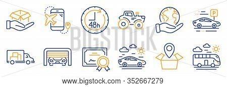 Set Of Transportation Icons, Such As Parking Garage, Car Parking. Certificate, Save Planet. Bus Trav