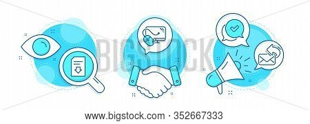 Share Mail, Computer Mouse And Download File Line Icons Set. Handshake Deal, Research And Promotion