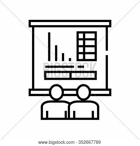 Analysing Info Line Icon, Concept Sign, Outline Vector Illustration, Linear Symbol.