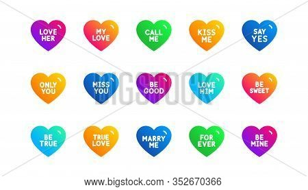 Sweetheart For Valentines Day, Love Heart, Romantic Message. Sweet Heart Icons. Marry Me, Kiss Me, O