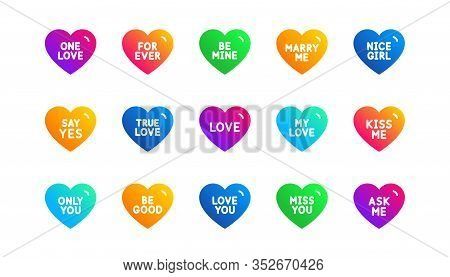 Sweetheart For Valentines Day, Love Heart, Romantic Message. Sweet Heart Icons. Marry Me, Kiss Me, T