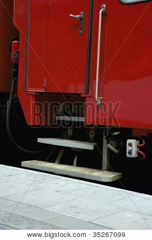 the door of a railway carriage