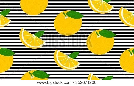 Seamless Background With Black Stripes And Whole And Slices Grapefruit With Leaves. Vector Fruit Des