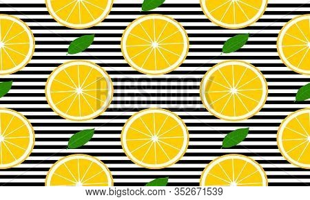 Seamless Background With Black Stripes And Slices Grapefruit With Leaves. Vector Fruit Design For Pa