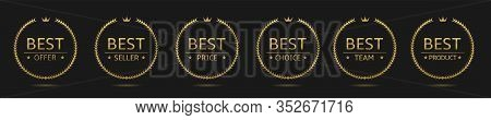 Golden Laurel Wreath Label Badge Set Isolated. Best Offer, Best Seller, Best Team, Best Price Golden