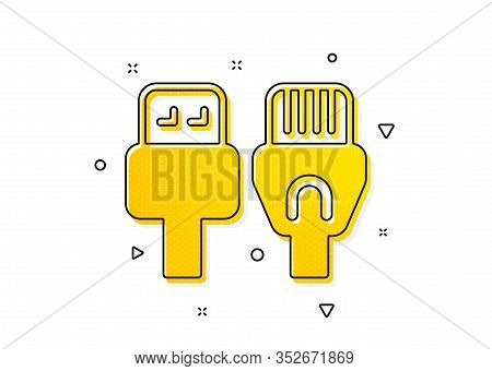 Usb, Rj45 Connection Wires. Computer Cables Icon. Yellow Circles Pattern. Classic Computer Cables Ic