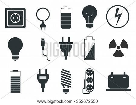 Set Of Electrical Icons, Electrician - Vector Illustration.