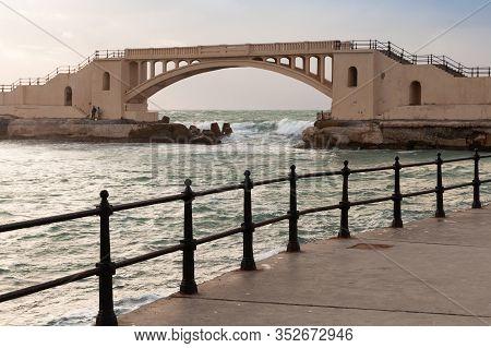 Landscape With Coastal Railings And Montazah Bridge On A Background, Alexandria, Egypt