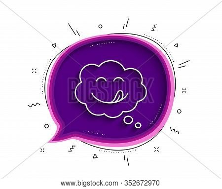 Yummy Smile Line Icon. Chat Bubble With Shadow. Emoticon With Tongue Sign. Comic Speech Bubble Symbo