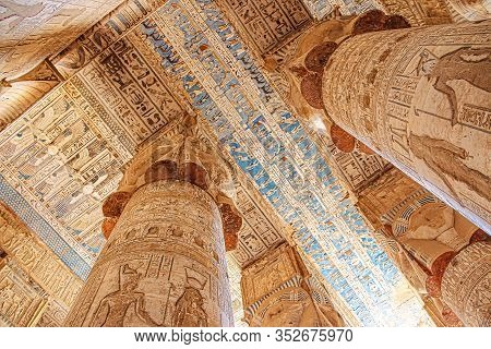 Beautiful Interior Of The Temple Of Dendera Or The Temple Of Hathor. Egypt, Dendera, Ancient Egyptia