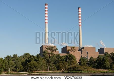 Sines Power Station Central On A Sunny Day, In Portugal