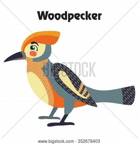 Colorful Decorative Outline Cute Woodpecker Bird Sitting In Profile. Wild Animals And Birds Vector C