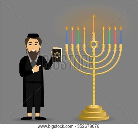 Hanukkah Holiday, Judaism, The Concept Of A Jew And Hanukkah Candlestick.