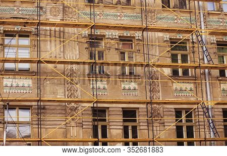 03.08.2019 Lviv, Ukraine. The Process Of Restoration Of An Ancient House, Facade, Frescos. Restorati