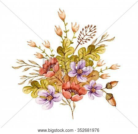 Watercolor Floral Composition Bouquet With Flower, Berries, Grass, Oak Leaves, Acorns. Delicate Hand