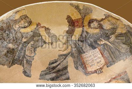 Lathrino, Naxsos, Greece - March 17, 2018: Deesis - Wall Painting In The Church Hagios Georgios And