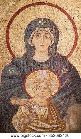 Istanbul, Turkey - March 17, 2018: Enthroned Virgin With Child - Ancient Byzantine Apse Mosaic In Th