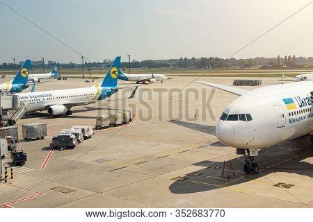 Kiev, Ukraine - June 15, 2019: Kbp Kiev Boryspil Airport Is Base Home Airport For Ukraine Internatio