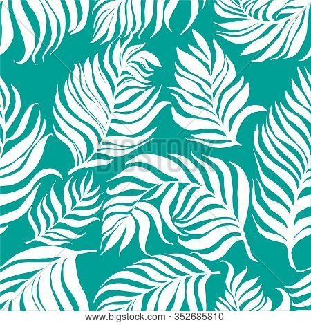 Seamless Pattern With White Palm Dypsis Leaves On Blue Background. Seamless Summer Palm Dypsis Leave