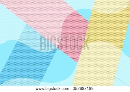 Hipster Geometric Halftone Dotted And Striped Retro Comic Background. Bright Blue, Pink And Yellow P