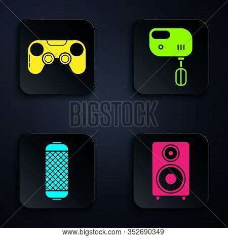 Set Stereo Speaker , Gamepad , Stereo Speaker And Electric Mixer . Black Square Button. Vector