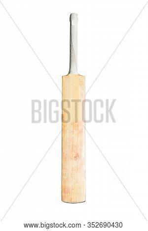 Isolated Wooden Cricket Bat On White Background