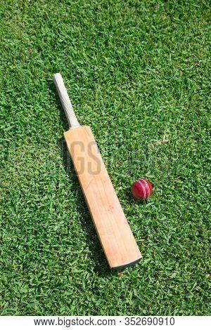 Cricket Bat And Ball On Green Grass