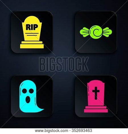 Set Tombstone With Cross , Tombstone With Rip, Ghost And Candy . Black Square Button. Vector