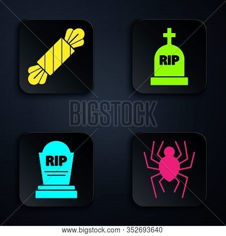 Set Spider , Candy , Tombstone With Rip And Tombstone With Rip. Black Square Button. Vector