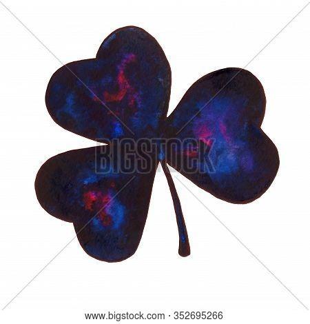 Cosmic Dark Blue And Purple Shamrock Illustration. Beautiful Stains Of Paint. Hand-drawn Mystic Blac