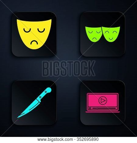 Set Online Play Video , Drama Theatrical Mask , Knife And Comedy And Tragedy Theatrical Masks . Blac