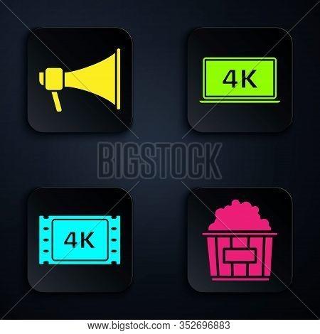 Set Popcorn In Cardboard Box , Megaphone , 4k Movie, Tape, Frame And Laptop Screen With 4k Video Tec