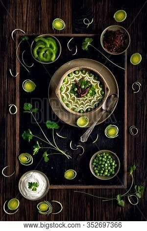 Homemade Pea Soup With Cream And Bacon