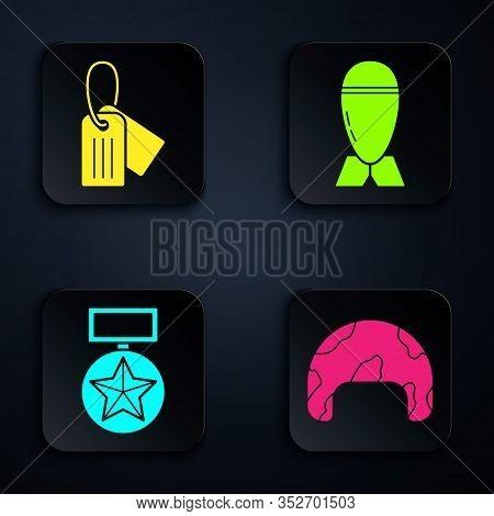 Set Military Helmet , Military Dog Tag , Military Reward Medal And Aviation Bomb . Black Square Butt