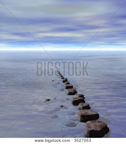 Row Of Stepping Stones To Ocean Sea Horizon