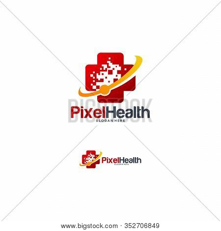 Pixel Health Logo Designs Concept Vector, Abstract Health Logo Template